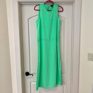 Jcrew bright green maxi dress with side slits